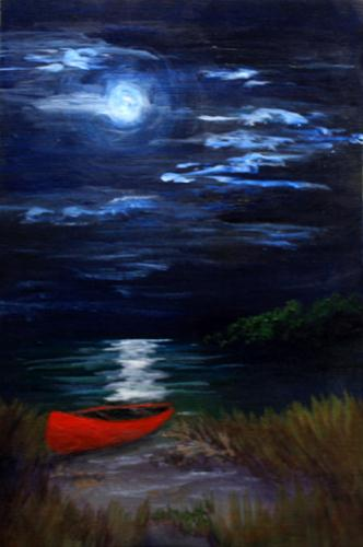 """Red Canoe in Moonlight"" original fine art by Jean Nelson"