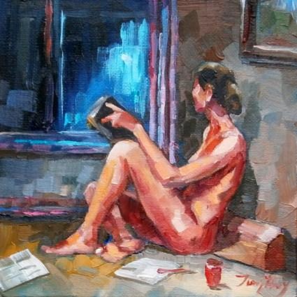 """""""Frau mit Buch"""" original fine art by Jurij Frey"""