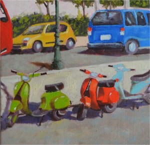 """Colorful Scooters"" original fine art by Robert Frankis"