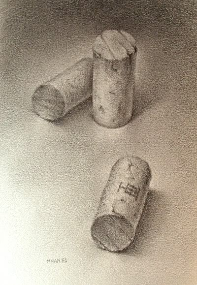 """Wine Cork Trio (revisited)"" original fine art by Michael Naples"
