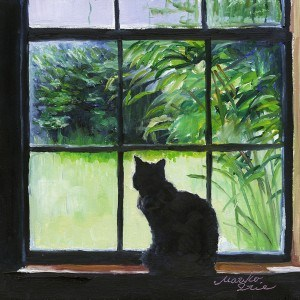 """Cat on Windowsill"" original fine art by Mariko Irie"