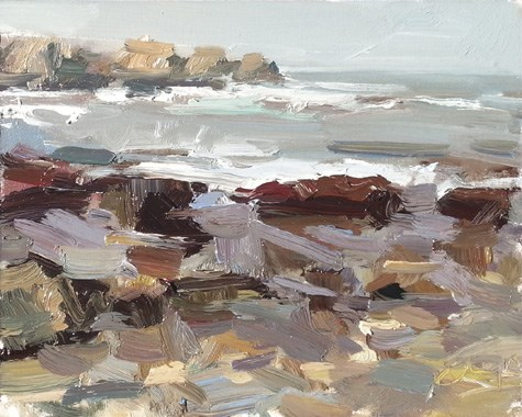 """Painting in California 5 Water and rocks - Light moves in"" original fine art by Roos Schuring"