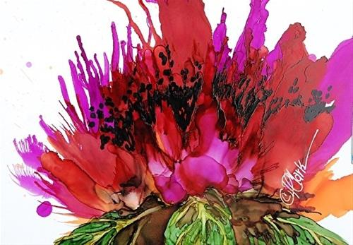 """Poppy Delight III, 5 x 7 Alcohol Ink, Floral"" original fine art by Donna Pierce-Clark"