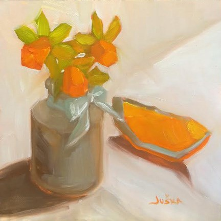"""Mini-Dafs & Orange Wedge"" original fine art by Elaine Juska Joseph"