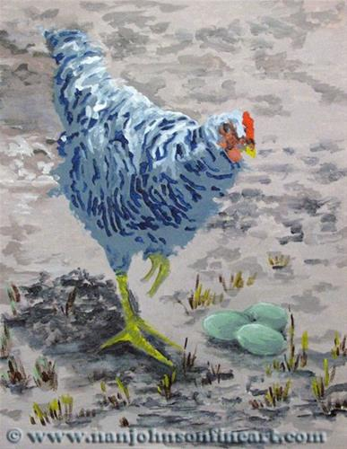"""""""Green Eggs & Hen"""" original fine art by Nan Johnson"""