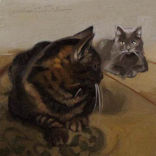 """Two Cats a small original oil painting"" original fine art by Diane Hoeptner"