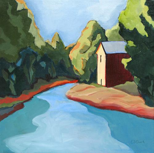 """Daily Painting, ""The Old Mill,"" contemporary landscape painting"" original fine art by Carolee Clark"