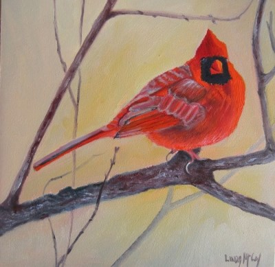 """A Winter's Tail, Cardinal Oil Painting"" original fine art by Linda McCoy"