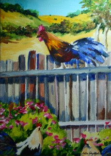 """Always on the Fence"" original fine art by JoAnne Perez Robinson"