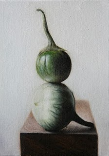 """Chinese Eggplants"" original fine art by Jonathan Aller"