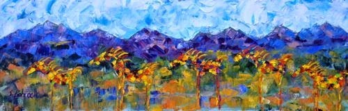 """Palette Knife Abstract Horse Art  Painting Cinco Caballos by  Colorado Impressionist Judith Babcoc"" original fine art by Judith Babcock"