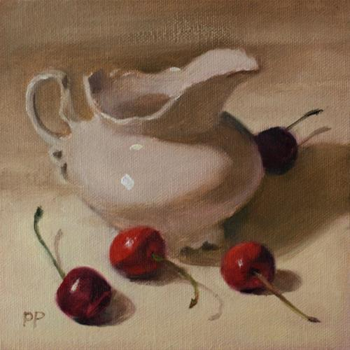"""Cherries and Cream"" original fine art by Pamela Poll"
