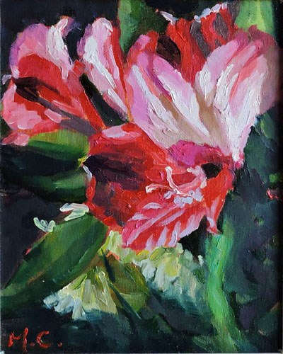 """flower in red"" original fine art by Michelle chen"