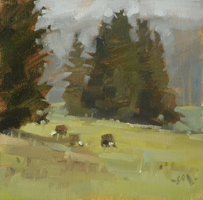"""Foggy Cows, 10-minute studies & workshop lessons"" original fine art by Carol Marine"