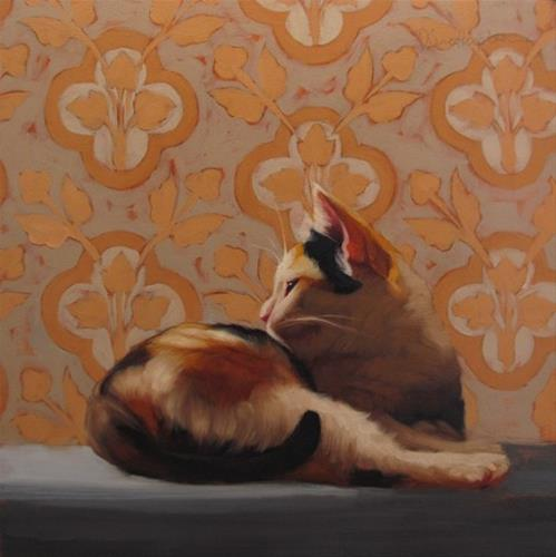 """Calico on Pattern"" original fine art by Diane Hoeptner"