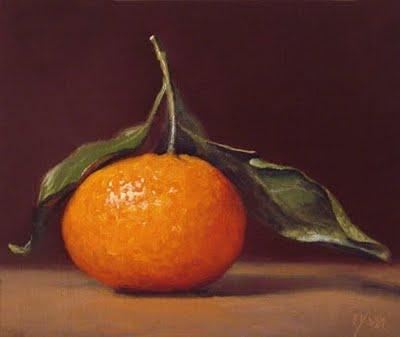 """Tangerine with Stem No. 1"" original fine art by Abbey Ryan"