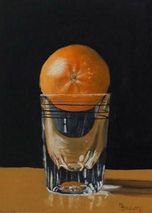 """Tangerine on a Shot Glass"" original fine art by Sherry Bellamy"