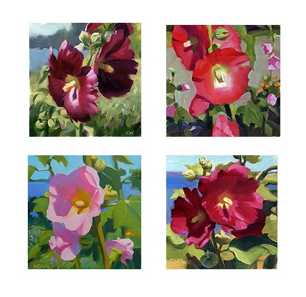 """Hollyhocks"" original fine art by Kathy Weber"