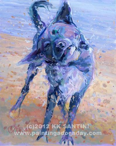 """Painting a Dog a Day Valentine Giveaway!!"" original fine art by Kimberly Santini"