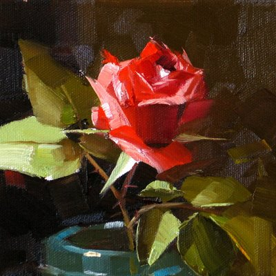 """The Only Rose --- Sold"" original fine art by Qiang Huang"