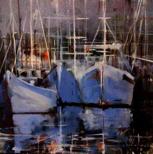 """Three Boats in the Harbor"" original fine art by Bob Kimball"