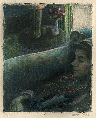 """Silk Aquatint: Dusk"" original fine art by Belinda Del Pesco"
