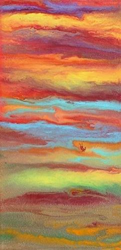 """Contemporary Abstract Landscape Painting,Sunrise Reflections Mini #2 by International Contemporary"" original fine art by Kimberly Conrad"