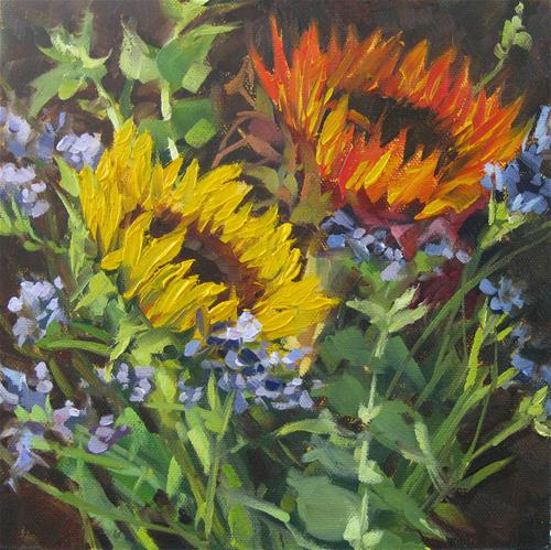 """Heads-Up Sunflowers"" original fine art by Karen Werner"