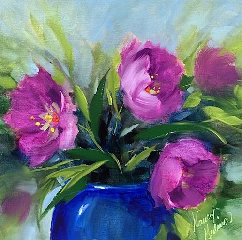 """Spring Fever Pink Tulips and a Texas Hill Country Workshop - Flower Painting Classes and Workshops b"" original fine art by Nancy Medina"
