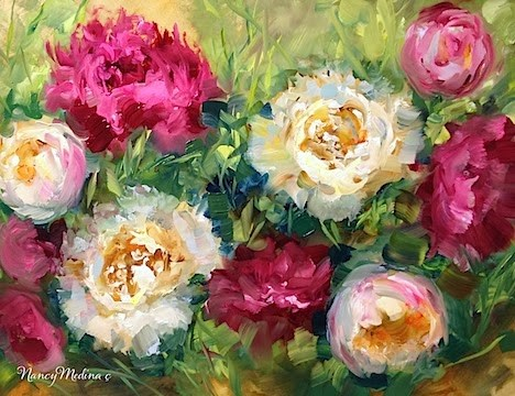 """Hearts of Gold Peonies"" original fine art by Nancy Medina"