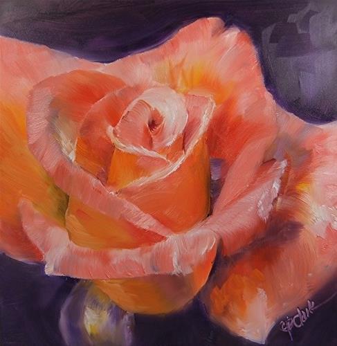"""New Rose, 8 x 8 Oil, Still Life"" original fine art by Donna Pierce-Clark"