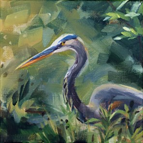 """Oil Painting: Blue Heron"" original fine art by Deb Anderson"