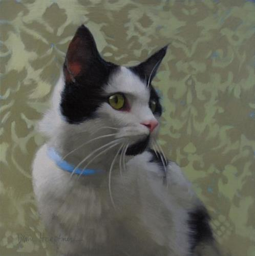 """Coby the black spotted kitty, a new painting"" original fine art by Diane Hoeptner"
