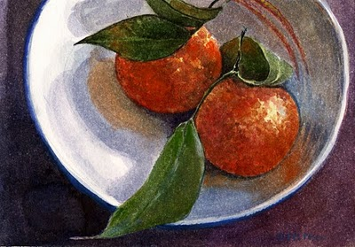 """Watercolor: Spooning Cuties (and an oil Painting by Tom Brown)"" original fine art by Belinda Del Pesco"