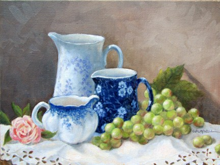 """BLUE AND WHITE II An Original Oil Painting by Claire Beadon Carnell"" original fine art by Claire Beadon Carnell"