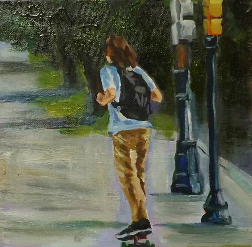 """Skateboarding,A28"" original fine art by Run-      Zhang Zane"