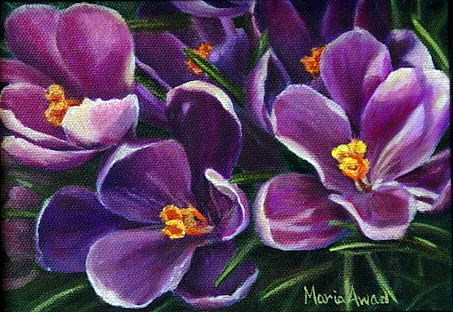 """Purple Crocus"" original fine art by Maria Levandowski"