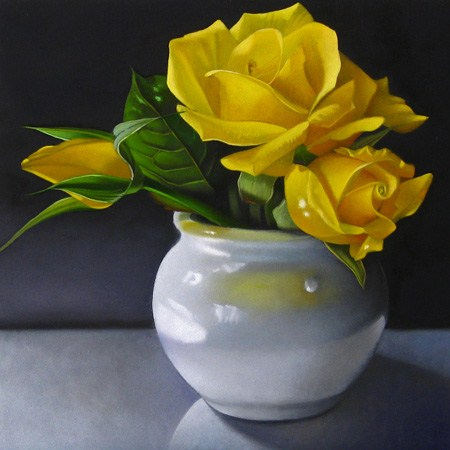 """Yellow Roses 6x6"" original fine art by M Collier"