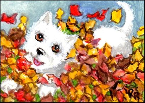 """Happy Dog in Autumn Leaves"" original fine art by Patricia Ann Rizzo"