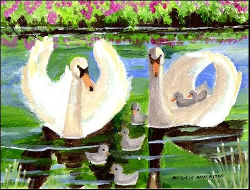 """Mr & Mrs Swan and Family"" original fine art by Patricia Ann Rizzo"
