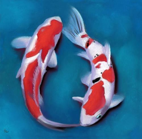 """Two Koi Fish"" original fine art by Ria Hills"