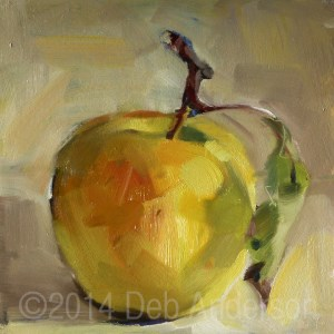 """""""Another Oil Painting of an Apple"""" original fine art by Deb Anderson"""
