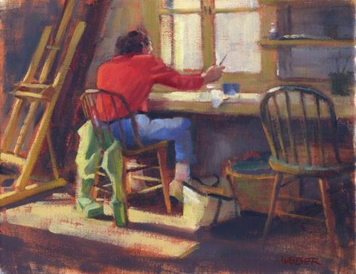 """In the studio"" original fine art by Kathy Weber"