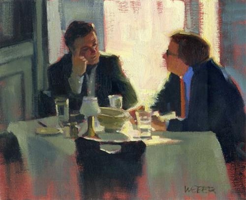"""Business lunch"" original fine art by Kathy Weber"