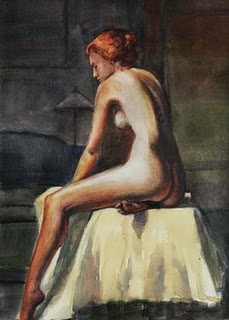 """Watercolor: Mid-Century Red Head"" original fine art by Belinda Del Pesco"