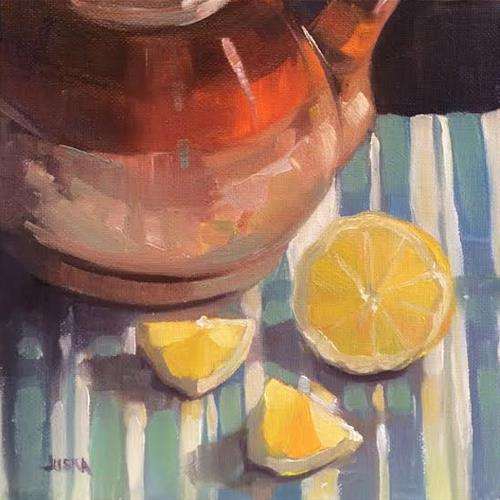 """Tea Lemons #2"" original fine art by Elaine Juska Joseph"