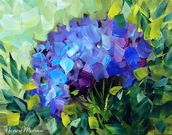 """Sun Seeker Blue Hydrangea by Texas Flower Artist Nancy Medina"" original fine art by Nancy Medina"