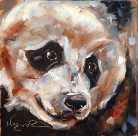 """ORIGINAL CONTEMPORARY PANDA BEAR PAINTING in OILS by OLGA WAGNER - 12 DAYS OF GREY"" original fine art by Olga Wagner"