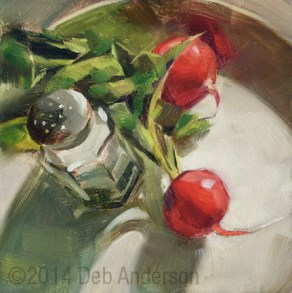 """Oil Painting: Radishes"" original fine art by Deb Anderson"