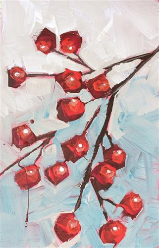 """Winter Berries"" original fine art by Teddi Parker"